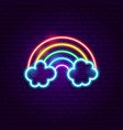 rainbow with clouds neon label vector image vector image