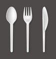 realistic detailed 3d plastic cutlery set vector image vector image