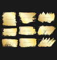 set of brush stroke frame gold grunge brush vector image vector image
