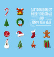 set of christmas and happy new year vector image vector image