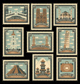 set of stamps with architectural historical sites vector image vector image