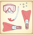 Sketch diving set in vintage style vector image vector image