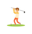 smiling golf player hitting the ball vector image vector image