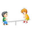 two boys playing on seesaw vector image vector image