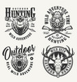 vintage monochrome hunting badges vector image vector image