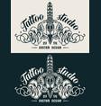 vintage monochrome tattoo studio emblem design vector image vector image