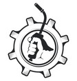 welding machine in hand and gear vector image vector image