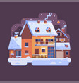 winter village snowy scene in flat design vector image vector image