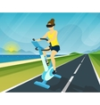 Woman is riding exercise bike through using head vector image vector image