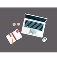 Workplace With Lap Top vector image