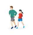 Young man and a woman running