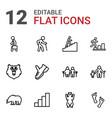 12 walking icons vector image vector image