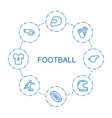 8 football icons vector image vector image