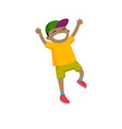 african-american boy jumping with raised hands up vector image