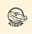 alligator head in circle cut out icon vector image vector image