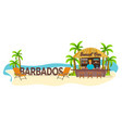 beach bar barbados travel palm drink summer vector image vector image