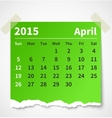 Calendar april 2015 colorful torn paper vector image vector image
