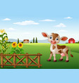 cartoon cow with farm landscape vector image vector image