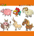 cartoon farm animal characters collection vector image vector image