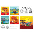 cartoon wild africa colorful composition vector image vector image