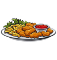 chicken fried nuggets vector image vector image