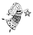 christmas angel outlined vector image vector image