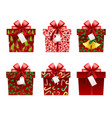 christmas gift icons vector image vector image