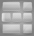 collection transparent reflecting square glass vector image