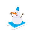 cute funny snowman riding sled sleigh toboggan vector image
