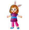 cute girl wearing bunny ears vector image vector image