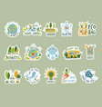 ecology stickers save green earth planet clean vector image vector image