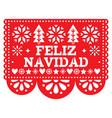 feliz navidad papel picado design mexican vector image