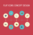 flat icons mitten cement blender pneumatic and vector image vector image