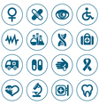 Flat line medical icons set vector image