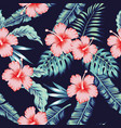 flowers hibiscus pink monstera palm leaves vector image vector image