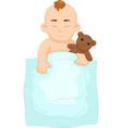 funny baby cartoon sleeping with doll vector image