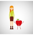 girl cartoon and apple cute fruit icon vector image