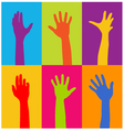 hands of different colors vector image vector image