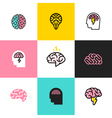icons and logos brain brainstorming idea vector image vector image
