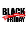 inscription black friday with red ribbon vector image vector image