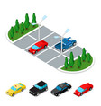 isometric car parking area city transportation vector image vector image
