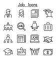 job employment icon set in thin line style vector image vector image
