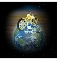 motorcycle on planet earth vector image vector image