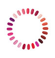 nail palette set colorful nails settled in a vector image vector image