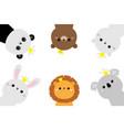 panda koala bear lion cat bunny rabbit hare face vector image vector image
