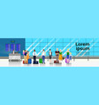 people with baggage standing in line to counter in vector image vector image