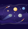 planets and rockets poster set vector image vector image