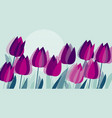 purple tulip flowers with geometry texture pattern vector image