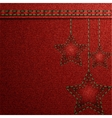 Red denim Christmas background with embroidery vector image
