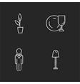 restaurant chalk white icons set on black vector image